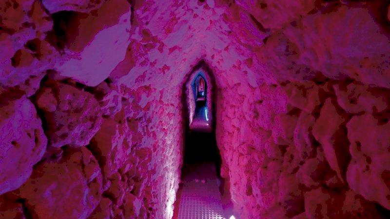 Galería que une la cisterna con el manantial de la Fuente de Abajo y que será visitable.