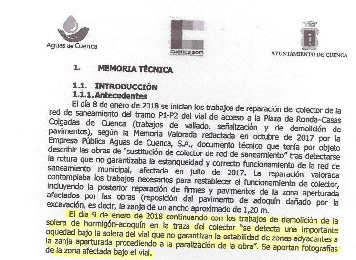 """Un informe de 'Aguas de Cuenca' de enero de 2018 advertía de """"oquedades"""" bajo el vial"""