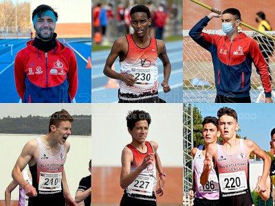 El técnico Alberto Fernández y cinco atletas del Atletismo Cuenca, con la selección regional sub-18