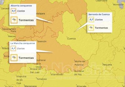 Alerta naranja por fuertes lluvias y tormentas con granizo en La Mancha y La Alcarria