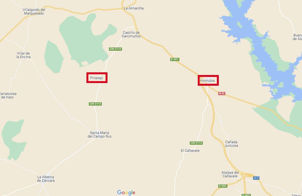 Accidente de tráfico mortal en un camino entre Honrubia y Pinarejo