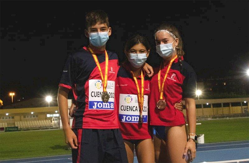 Los tres medallistas conquenses de la primera jornada del Campeonato de España de Atletismo Sub-16