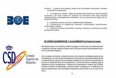 Caos en el deporte con el cierre perimetral de Castilla-La Mancha